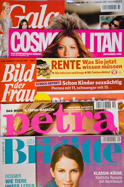 Zeitschriften-Cover Gala, Bild der Frau, Petra, Brigitte, Cosmopolitan