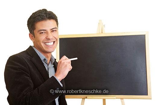 Mann mit Tafel