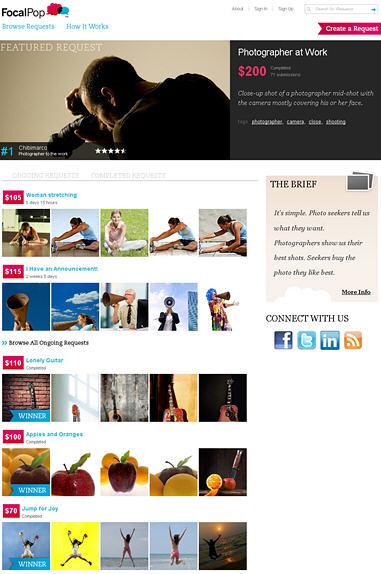 Screenshot der Startseite von FocalPop