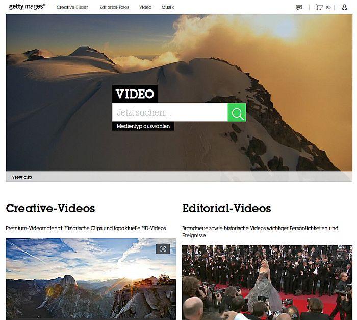 Startseite der Videosuche auf der Webseite von Getty Images