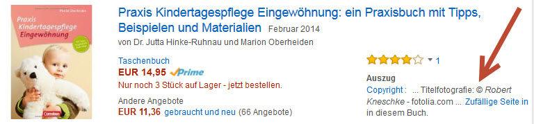 Beispiel für einen Treffer bei der Suche nach Fotografen-Namen bei Amazon.de