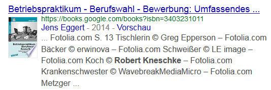 Beispiel für einen Suchtreffer in der Google Büchersuche.