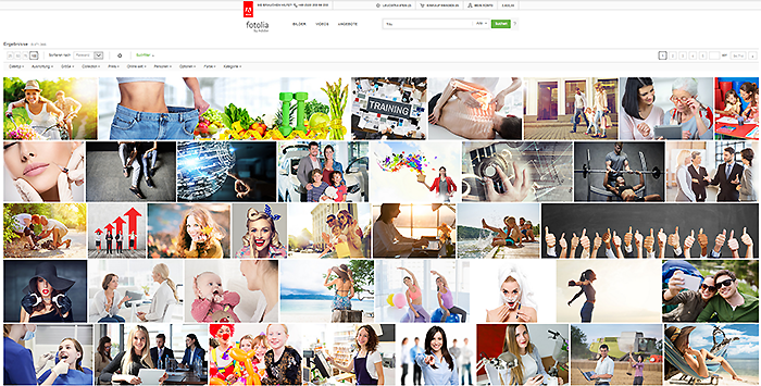 """Die Suche nach """"Frau"""" bei Fotolia liefert knapp 10 Millionen Ergebnisse. Welche Faktoren sorgen dafür, welche Bilder jeweils ganz oben erscheinen?"""